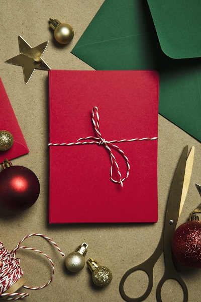 Christmas letter to Sant. Letter and envelope with festive decorations